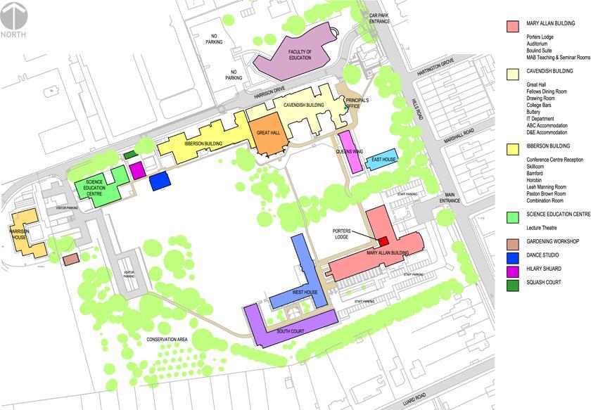 Rooms Queens College Cambridge Map on